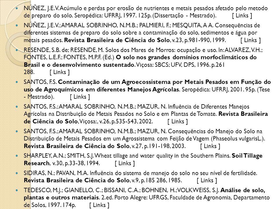 NÚÑEZ, J.E.V. Acúmulo e perdas por erosão de nutrientes e metais pesados afetado pelo metodo de preparo do solo. Seropédica: UFRRJ, 1997. 125p. (Dissertação - Mestrado). [ Links ]
